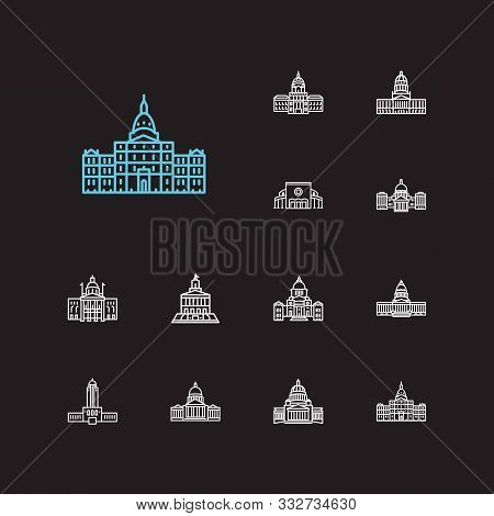 Us Capitols Icons Set. House And Us Capitols Icons With Tennessee State Capitol, Tourism And Famous