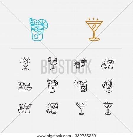 Beverage Icons Set. Martini With Olive And Beverage Icons With Manhattan Cocktail, Daiquiri Cocktail
