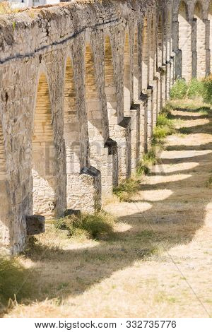 Ruins Of A Water-conduict, An Aqueduct From The Roman Ages In Limmasol, Cyprus.