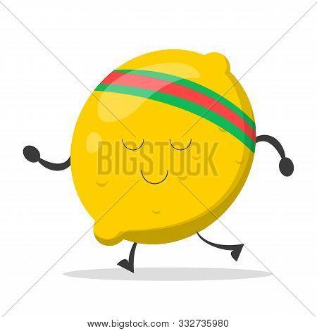 Lemon Character Training Vector Isolated. Cartoon Yellow Fruit