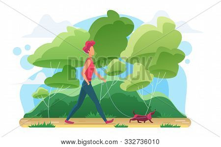 Young Man Walking Dog Flat Vector Illustration. Guy With Dachshund On Leash Cartoon Character. Pet L