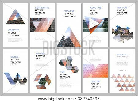 Creative Social Networks Stories Design, Vertical Banner Or Flyer Template With Triangular Design Ba