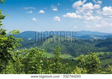 Beautiful Atmospheric Contrasty Summer View Of Chornohora Mountains From Mount Hoverla. It Is The Hi