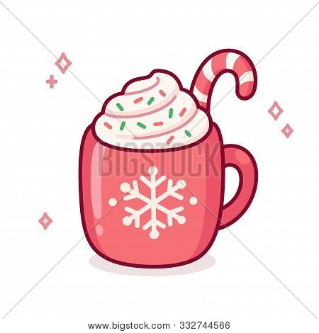 Cute Cartoon Hot Chocolate Or Coffee In Red Cup With Snowflake Ornament. Warm Seasonal Drink Doodle