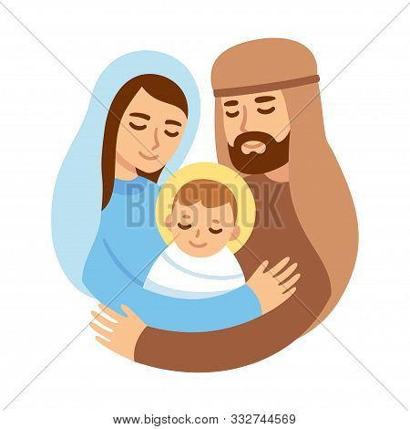 Christmas Nativity Illustration With Mary And Joseph Hugging Baby Jesus. Cute And Simple Cartoon Vec