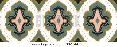 Ikat Geometric Folklore Ornament With Diamonds. Damask Rug. Tribal Ethnic Vector Texture. Persian Ge