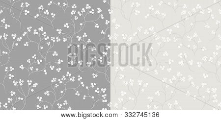 Cherry Blossom Seamless Floral Pattern. Hand Drawn Texture White Flower Branch. Romantic Background