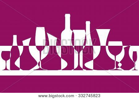 Wine Vector Background. Banner From Silhouettes Of Wine Bottles, Glasses And Decanters. Eps 10 File