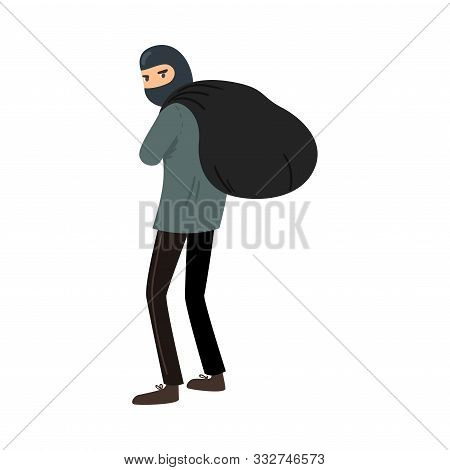 Thief In A Black Mask With A Bag Of Loot. Vector Illustration In Flat Cartoon Style.