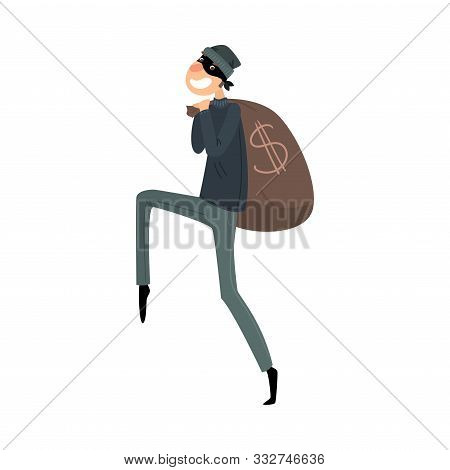 Sneaking Thief In Mask And Black Suit With A Bag Of Money. Vector Illustration In Flat Cartoon Style