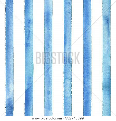 Watercolor Stripe Plaid Seamless Pattern. Color Teal Blue Stripes Background. Watercolour Hand Drawn