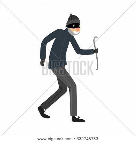 Sneaking Thief In Black Clothes Standing With The Crowbar In Hand. Vector Illustration In Flat Carto