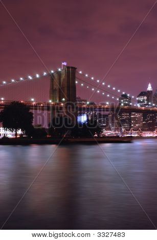 Night Sky Over The Brooklyn Bridge