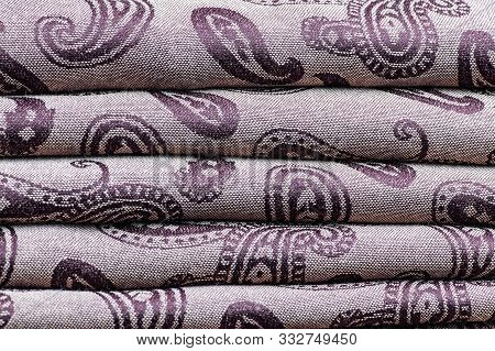 Silk Luxury Posh Textile With A Swirl And Ethnic Pattern. For Connoisseurs Of Luxurious Moroccan And