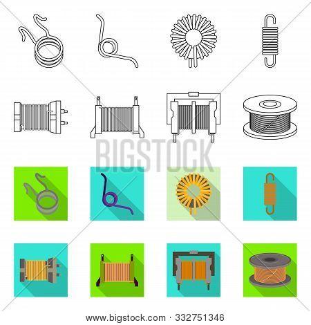 Vector Illustration Of Compression And Torsion Icon. Collection Of Compression And Technology Stock