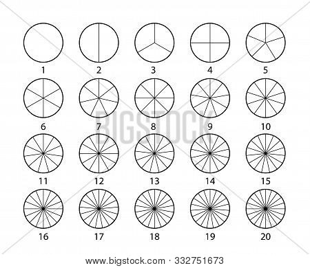 Segmented Circles Set Isolated On A White Background.various Number Of Sectors Divide The Circle On