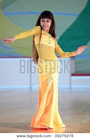 MOSCOW, RUSSIA - MAY 2: Unidentified girl dance during IX World Dance Olympiad in Moscow, Russia at May 2, 2012
