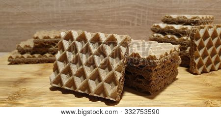 Chocolate Wafers. Fresh Baked Waffles. Cocoa Waffles.