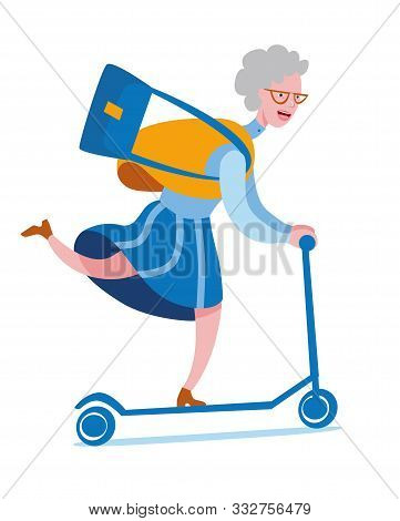 Cheerful Elderly Woman Rides A Scooter. Vector Illustration On The Theme Of Active Longevity. Illust