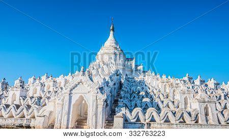 Woman Visits Hsinbyume Pagoda In Mingun Myanmar. Myatheindan Pagoda