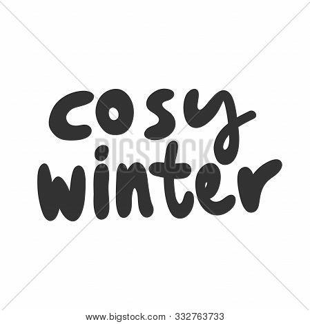 Cosy Winter. Sticker For Social Media Content. Vector Hand Drawn Illustration Design.