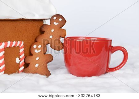 The Hand-made Eatable Gingerbread House, Little Men And Cup Of Coffee