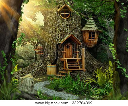 Deep In A Distant, Hidden, Mysterious Forest Sits An Enchanting Fairy Tree Home Inside An Old White