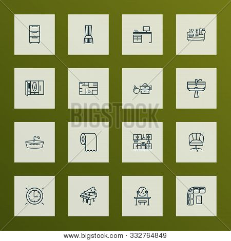 Home Decoration Icons Line Style Set With Dining Chair, Kitchen Set, Toilet Paper And Other Ergonomi