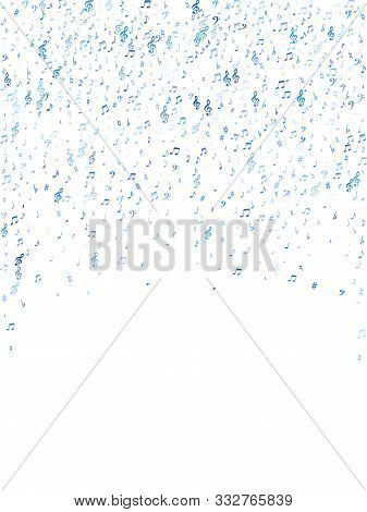 Blue Flying Musical Notes Isolated On White Background. Cute Musical Notation Symphony Signs, Notes