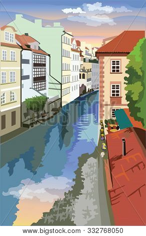 Colorful Vector Illustration Of Certovka Canall In Prague. Landmark Of Prague, Czech Republic. Color