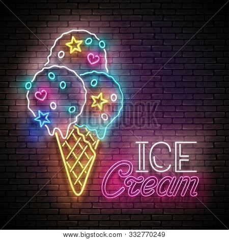 Vintage Glow Poster With Ice Cream Cream Balls In Cone, Candies And Inscription. Neon Lettering. Tem