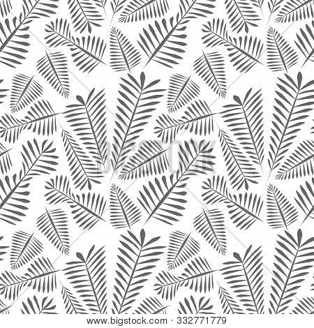 Seamless Pattern Of Gray Simple Leaves - Monochrome.