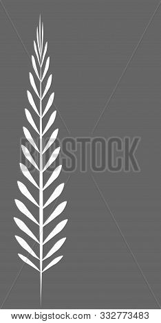 Gray Rectangular Vertical Frame With A Simple White Leaf.