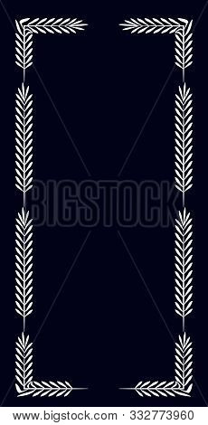 Black Rectangular Vertical Frame With A Simple White Pattern In The Form Of White Leaves.