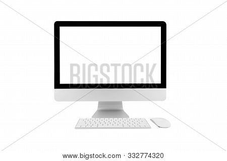 Desktop Computer Modern Style With Simplicity Blank Screen Isolated On White Background, Monitor Wid