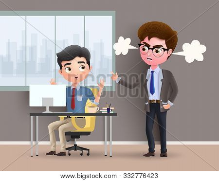 Angry Boss Business Character Vector Concept. Office Employee Caught By Angry Boss While Working In