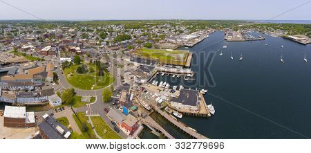 Aerial View Of Gloucester City And Gloucester Harbor Panorama, Cape Ann, Massachusetts, Usa.