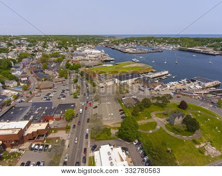 Aerial View Of Gloucester City And Gloucester Harbor, Cape Ann, Massachusetts, Usa.