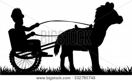 Vector Illustration Of The Black Silhouette Of The Horse And Chaise With Coachman