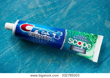 MOSCOW, RUSSIA - NOVEMBER 11, 2019: Toothpaste Crest by Procter & Gamble. Editorial illustrative image