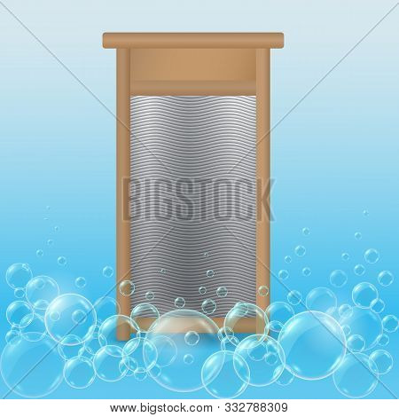 Realistic Hand Ribbed Metal Washboard In Wooden Frame On Blue Soap Bubbles Background. 3d Illustrati