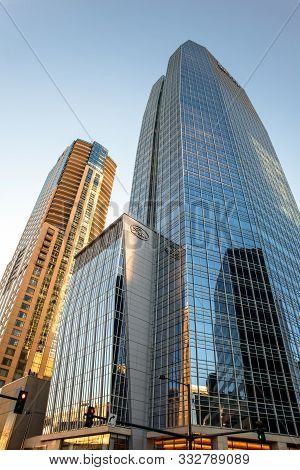 Denver, Colorado - November 9, 2019: Looking Up A Skyscraper In The Financial And Business District