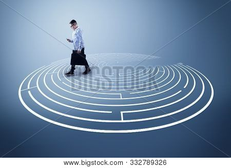 Walking Over A Maze .  The Concept Of Shortcut And Working Smart.