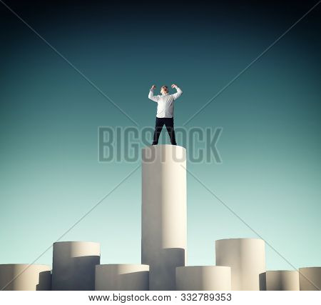 The Kid Celebrating Stands On Higher Column.