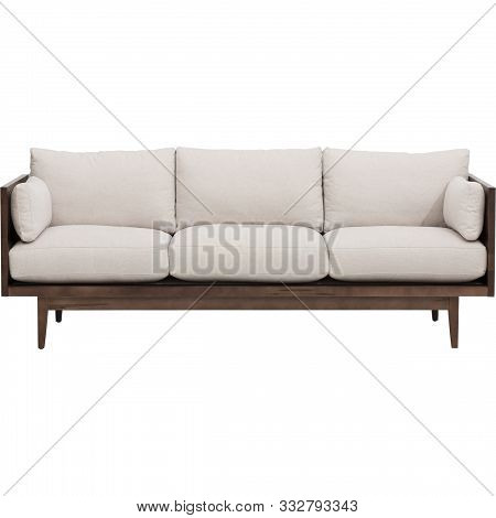 Modern Living-room Interior With White Couch Near Empty Beige Wall.
