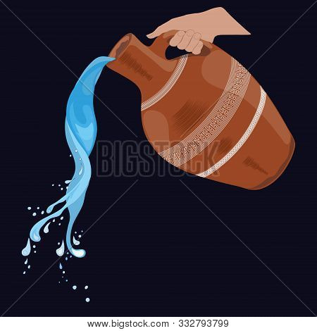 Painted clay pitcher with a handle, splashing water, pouring water. A pitcher in his hand. Isolated, black.Vector