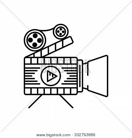 Black Line Icon For  Feature-films Feature-films Documentary Shooting  Filmmaking