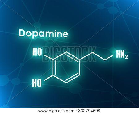 Chemical Molecular Formula Hormone Dopamine. Infographics Illustration. 3d Rendering
