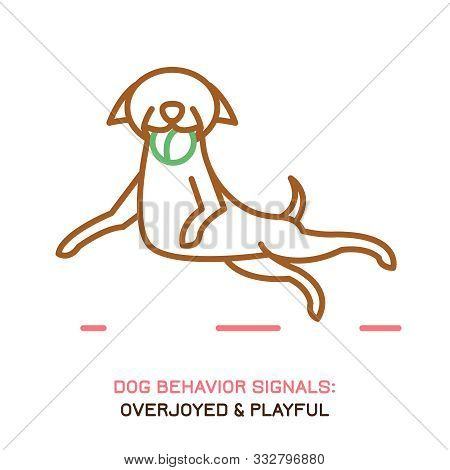 Dog Behavior Icon. Domestic Animal Or Pet Language. Happy Dog Catching A Ball. No Threat From My Sid