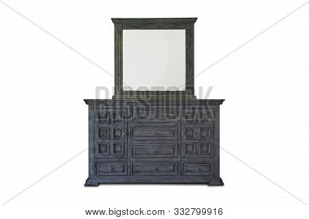 Wooden Cabinet, Standing Lamp And Flower Vase With Vintage Photo Frame Interior